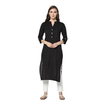 black Elora Cotton Striped Designer Kurti for Women