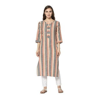peach Elora Cotton Striped Designer Kurti for Women