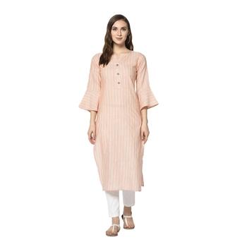pink Elora Cotton Striped Designer Kurti for Women