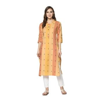 orange Elora South Cotton Striped Designer Kurti for Women