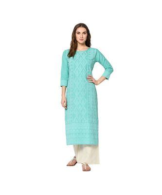turquoise Elora Cotton Pigment Print Designer Kurti for Women
