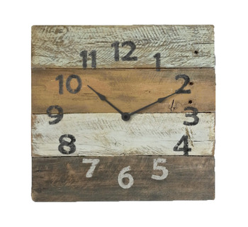Rustic Reclaimed Wood Wall Clock - Orange & Gold & Brown