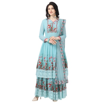 Sky Blue Georgette Printed Women's Semi-Stitched Sharara  Suit