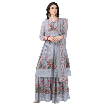 Grey Georgette Printed Women's Semi-Stitched Sharara  Suit