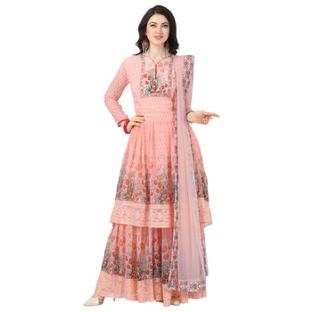 Orange Georgette Printed Women's Semi-Stitched Sharara  Suit