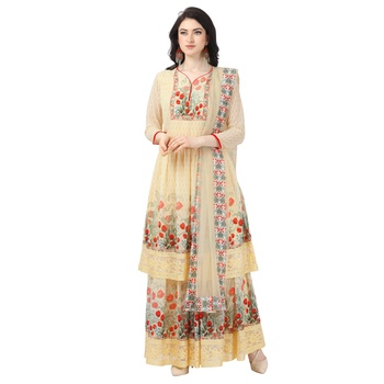 Yellow Georgette Printed Women's Semi-Stitched Sharara  Suit