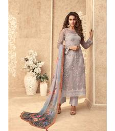 Light-purple resham embroidery net salwar
