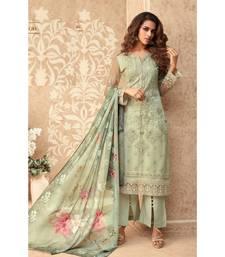 Light-green resham embroidery net salwar