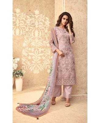Light-pink resham embroidery net salwar