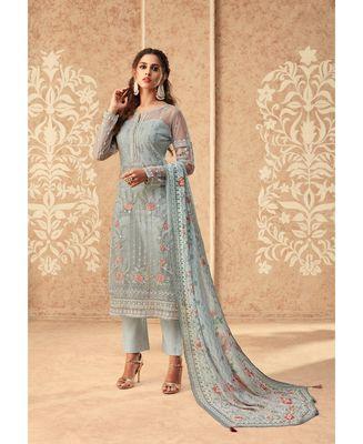 Light-grey resham embroidery net salwar