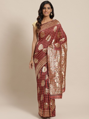 Red woven dupion silk saree with blouse