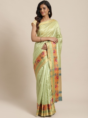 green woven dupion silk saree with blouse
