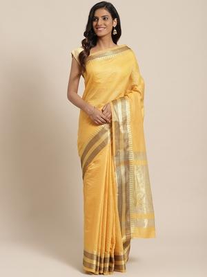 yellow woven dupion silk saree with blouse