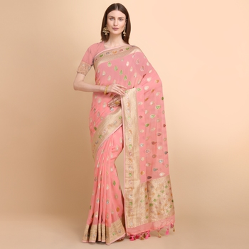 Pink Pure Georgette with Hand Brush Printed Saree