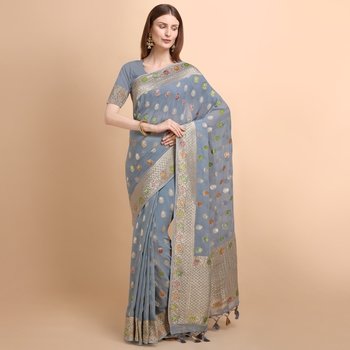 Grey Pure Georgette with Hand Brush Printed Saree