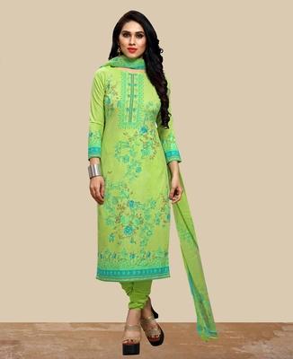 Green thread embroidery cotton salwar