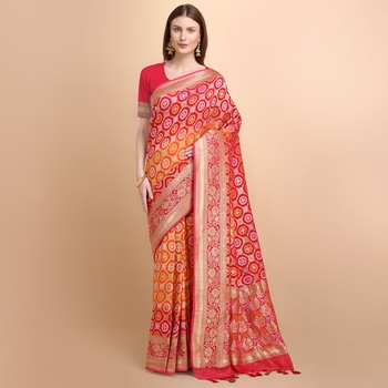 Red Pure Georgette Saree With Bandhani Weaving