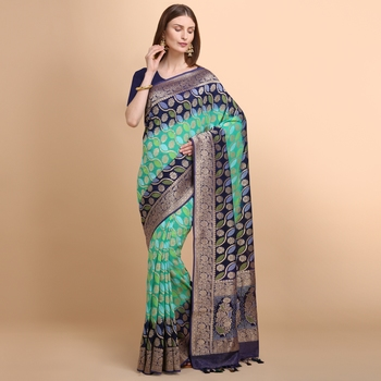 Blue Pure Georgette Saree With Bandhani Weaving