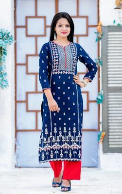 Royal-blue printed cotton kurtas-and-kurtis