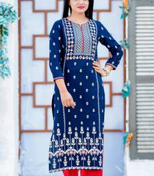 Royal-blue printed cotton kurtas-and-kurtis