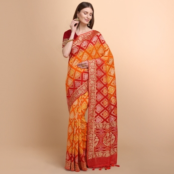 Orange Pure Georgette Saree With Bandhani Weaving