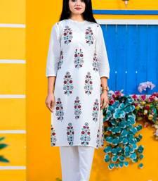 White printed cotton kurtas-and-kurtis