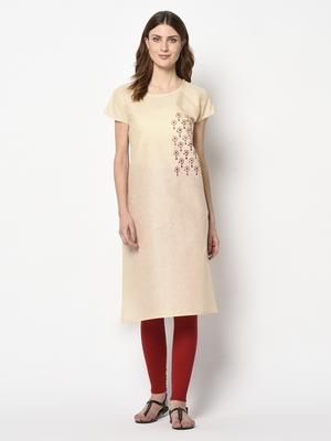 Beige printed cotton party-wear-kurtis