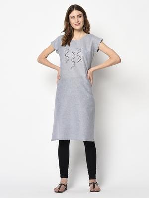 Grey printed cotton party-wear-kurtis