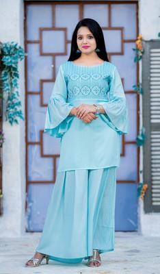 Turquoise embroidered rayon kurtas-and-kurtis