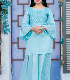 Turquoise embroidered rayon kurtas-and-kurtis