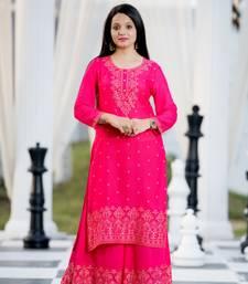 Light-rani-pink printed rayon kurtas-and-kurtis