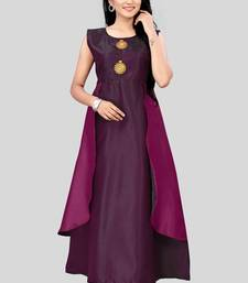 Purple plain silk party-wear-kurtis