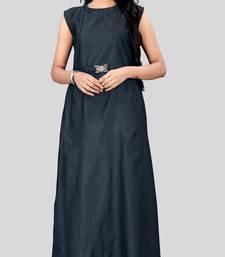 Blue plain silk long-kurtis