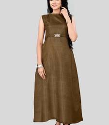 Brown plain silk long-kurtis