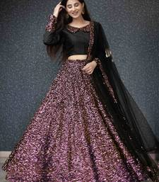 Wine plain silk semi stitched lehenga