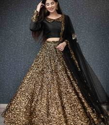 Gold plain silk semi stitched lehenga