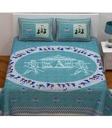 Turquoise printed cotton bed-sheets