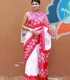 Pink And White Colored Handblock Jaipuri Printed Linen Saree Along With Blouse Piece
