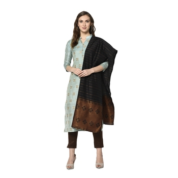 turquoise Elora Cotton Jacquard Salwar Suit Unstitched Dress Material for Women