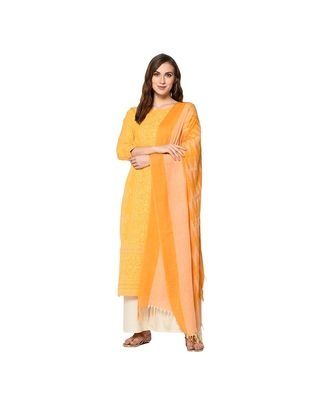 mustard Elora Pure Cotton With khadi Printed Salwar Suit Unstitched Dress Material for Women