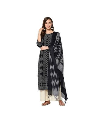 Black Elora Pure Cotton With khadi Printed Salwar Suit Unstitched Dress Material for Women