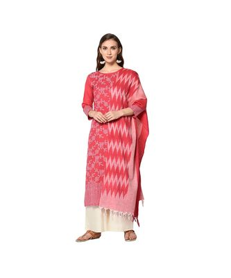 pink Elora Pure Cotton With khadi Printed Salwar Suit Unstitched Dress Material for Women