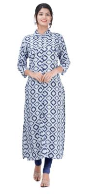 Blue Colored Sherwani Pattern Cotton Kurta With Rayon Pant