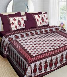 Maroon Cotton Printed Jaipuri Double Bedsheet with 2 Pillow Covers