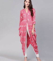 Pink And Silver A-Line Printed Kurta