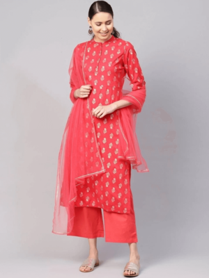 Coral Red And Golden Printed Kurta With Bottom And Dupatta