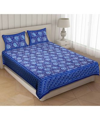 Blue Cotton Premium King Size Bedsheet with Two Zip Pillow Covers