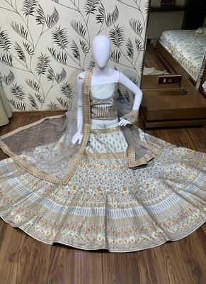 grey embroidered satin semi stitched bridal lehengas