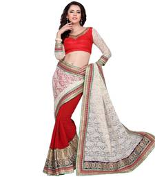 Red and White embroidered crepe saree with blouse