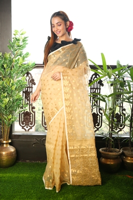 Beige woven blended cotton saree with blouse